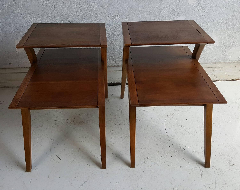 Drexel Profile Walnut Step Tables By John Van Koert