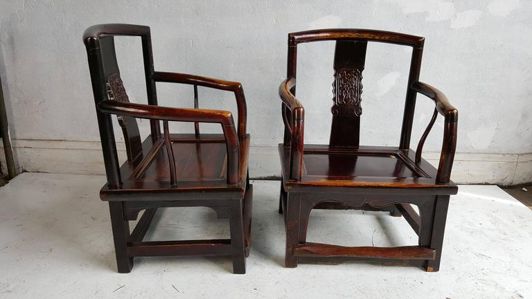 Carved Set of Four Chinese Official's Chairs, Rosewood, Qing Dynasty, China For Sale