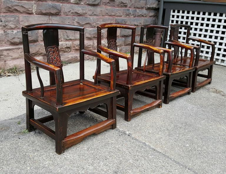 Set of Four Chinese Official's Chairs, Rosewood, Qing Dynasty, China For Sale 2