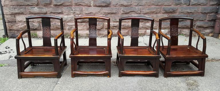 Set of Four Chinese Official's Chairs, Rosewood, Qing Dynasty, China For Sale 3