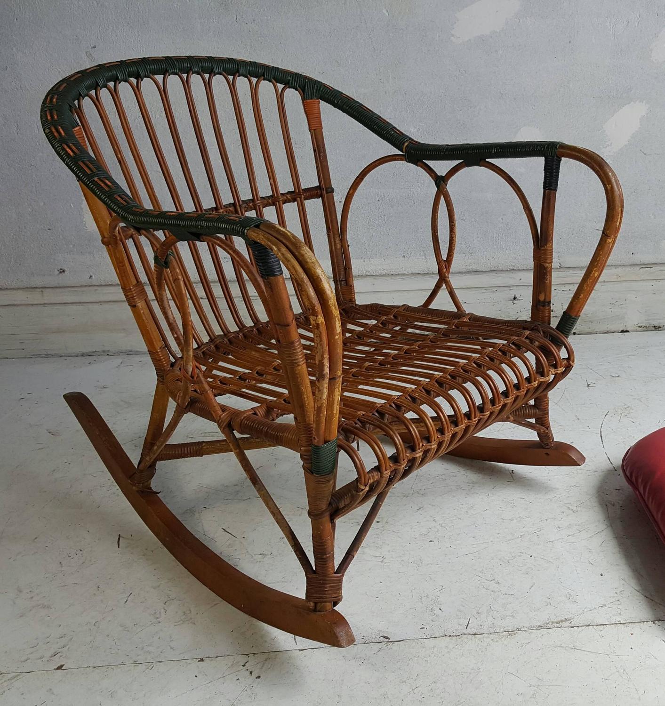 Unusual stick wicker split reed rocking chair ypsilanti for Wicker reed