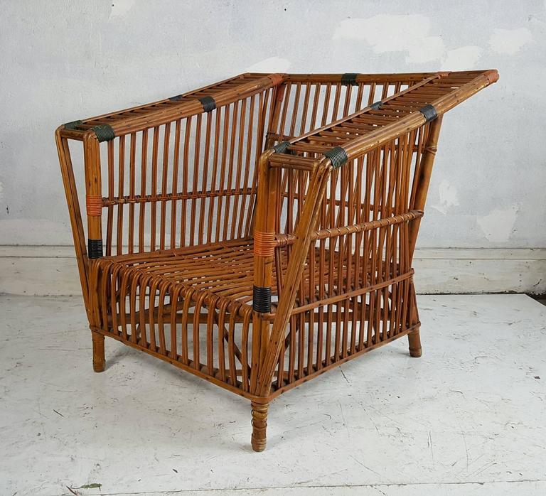 Unusual art deco stick wicker split reed arm chair for Wicker reed