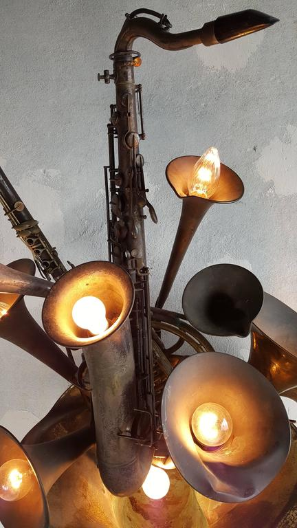 Large Wind Instrument Brass Wall Sconce French Horn, Saxophone For ...