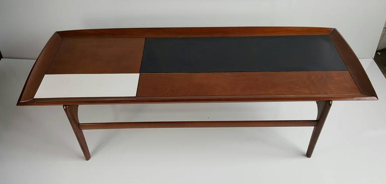 Handsome Mid Century Modern Coffee Tail Table Solid Walnut Top Interesting Black And
