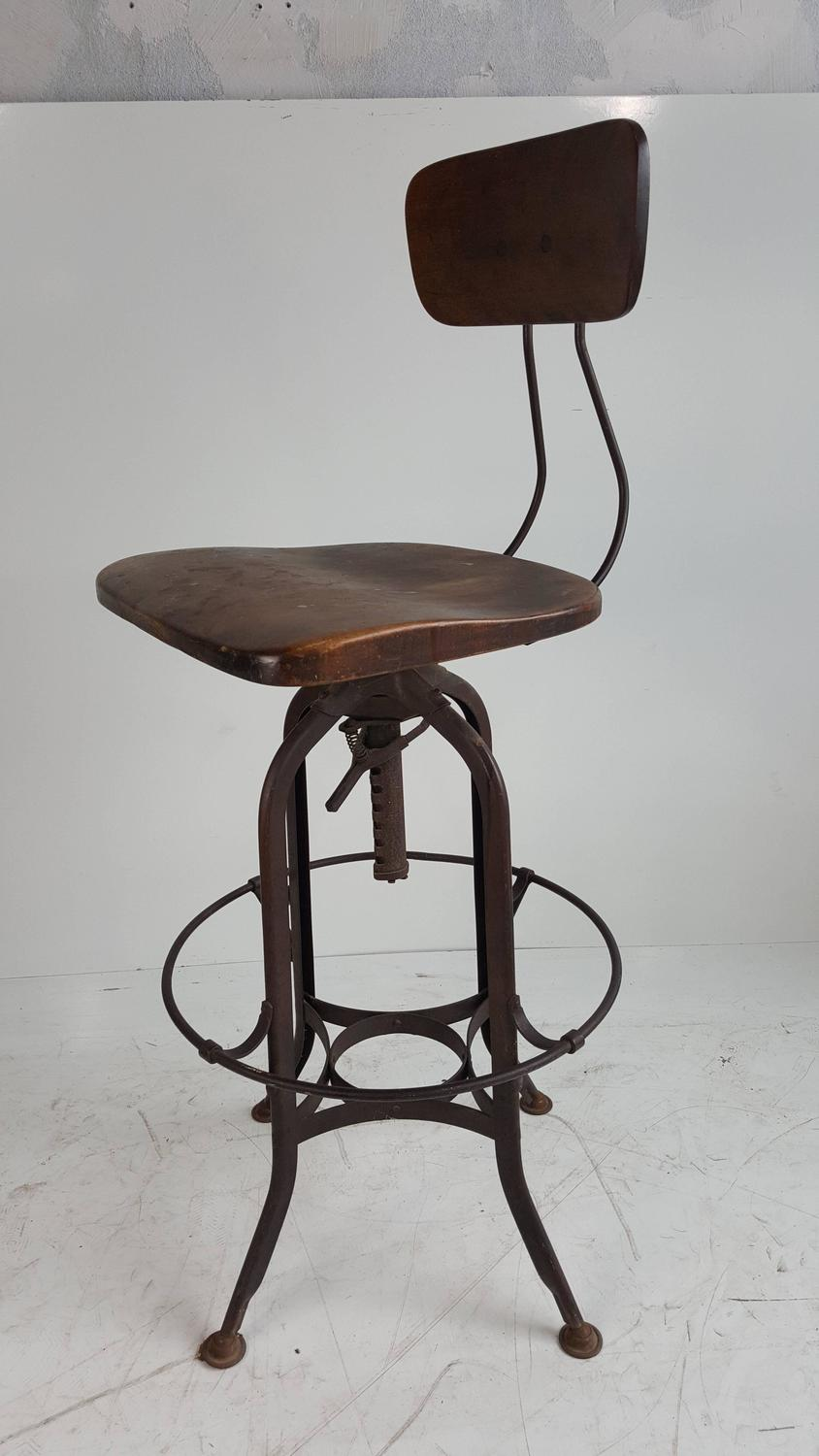 Early th century toledo drafting stool carved wood seat
