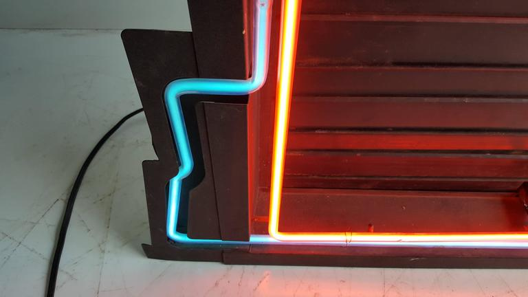 American Classic Art Deco Two-Color Neon Clock and Sign, Menu Board For Sale
