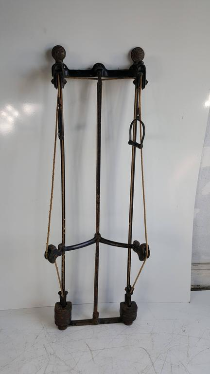 Iron Turn of the Century Spualding Exercise Weight Training Machine, circa 1896 For Sale