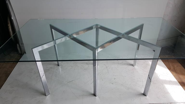 Classic Milo Baughman, Thayer Coggin dining table. Amazing double X-chromed steel base. Original 1/2 inch glass top. The base measures 55.75