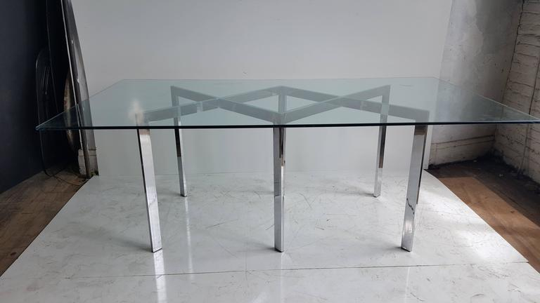 American Milo Baughman, Thayer Coggin Chrome X Base and Glass Dining Table For Sale