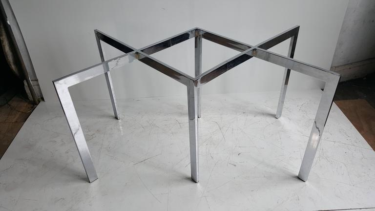 Late 20th Century Milo Baughman, Thayer Coggin Chrome X Base and Glass Dining Table For Sale
