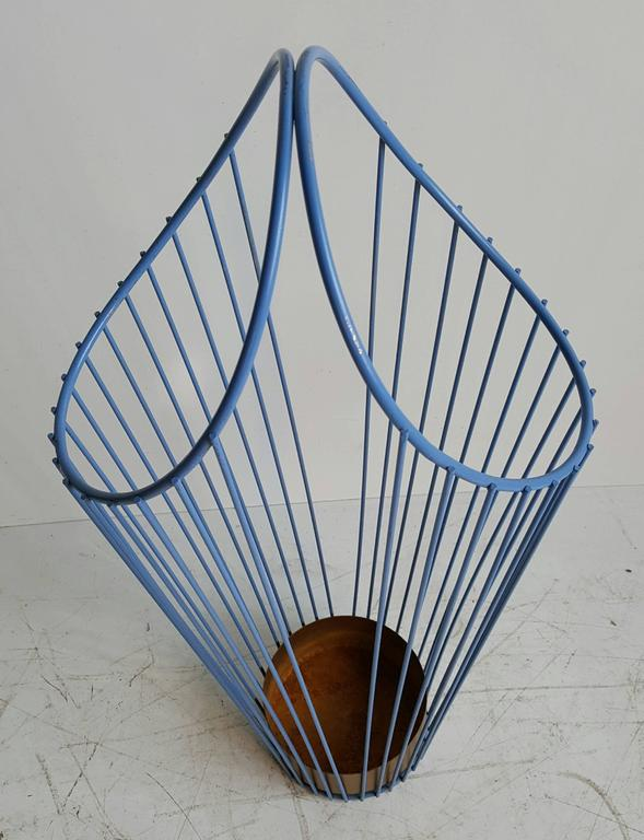 Steel Wire For Umbrella : Modernist wire iron umbrella stand painted periwinkle