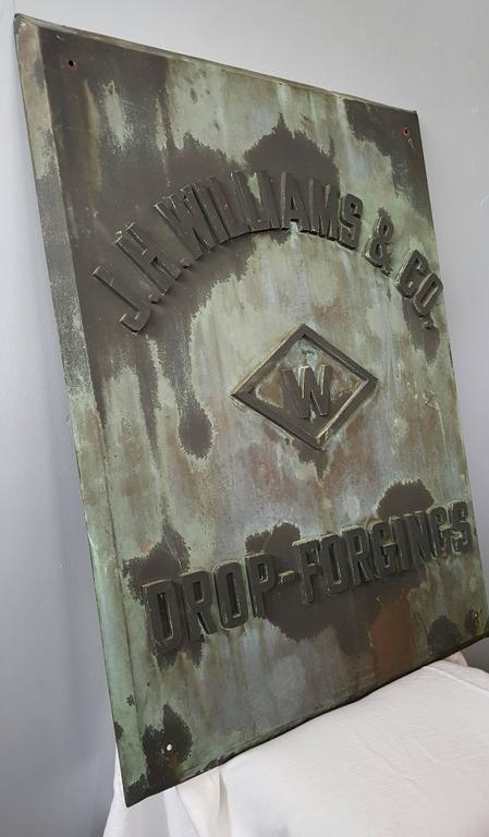 Rare 1880s handmade copper/bronze sign plaque