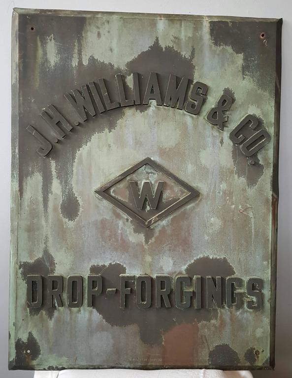 Rare 1880s Handmade Copper/Bronze Sign, Plaque