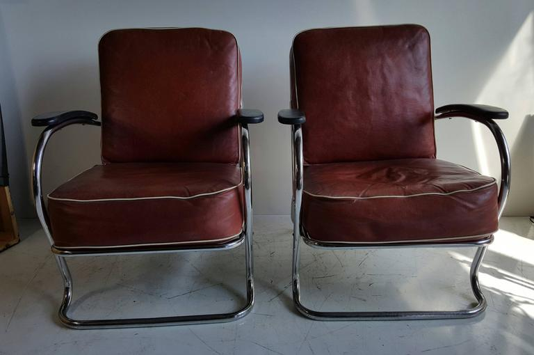 Pair of Art Deco tubular chrome lounge chairs designed by K E M Weber for Lloyd Manufacturing Co & Pair of Art Deco Tubular Chrome Lounge Chairs K E M Weber Lloyd ...