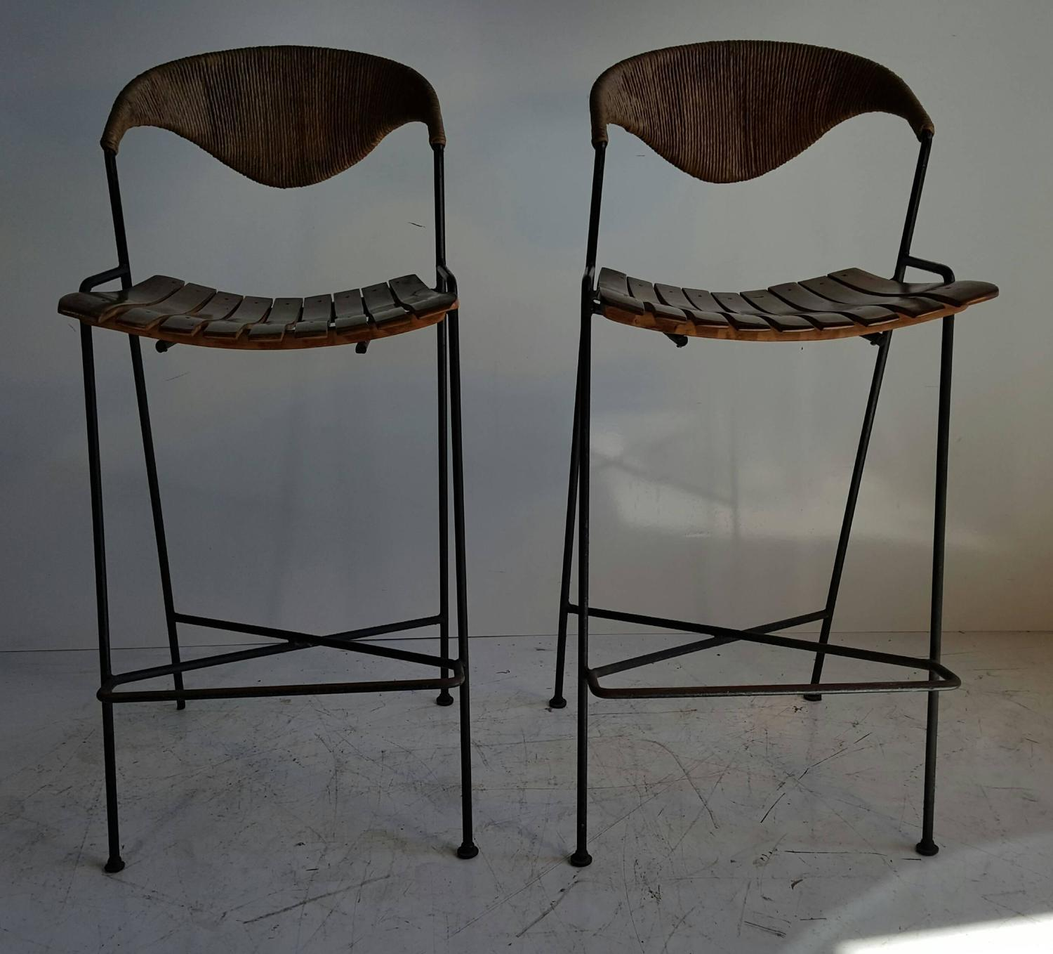 Classic Mid Century Modern Iron And Wood Bar Stools By