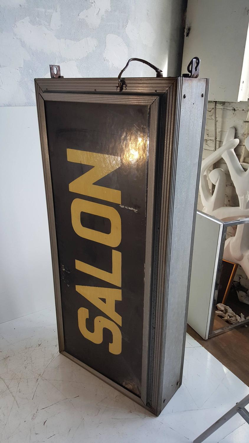 Large art deco double sided light up salon sign for sale for Double salon deco