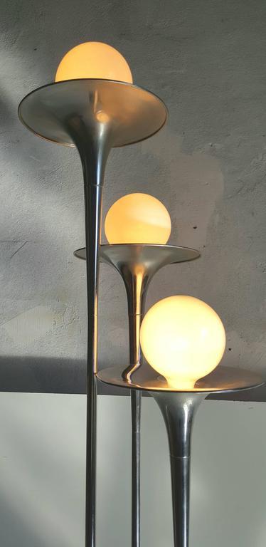 Italian Mid Century Modern Reggiani Chrome Trumpet Floor