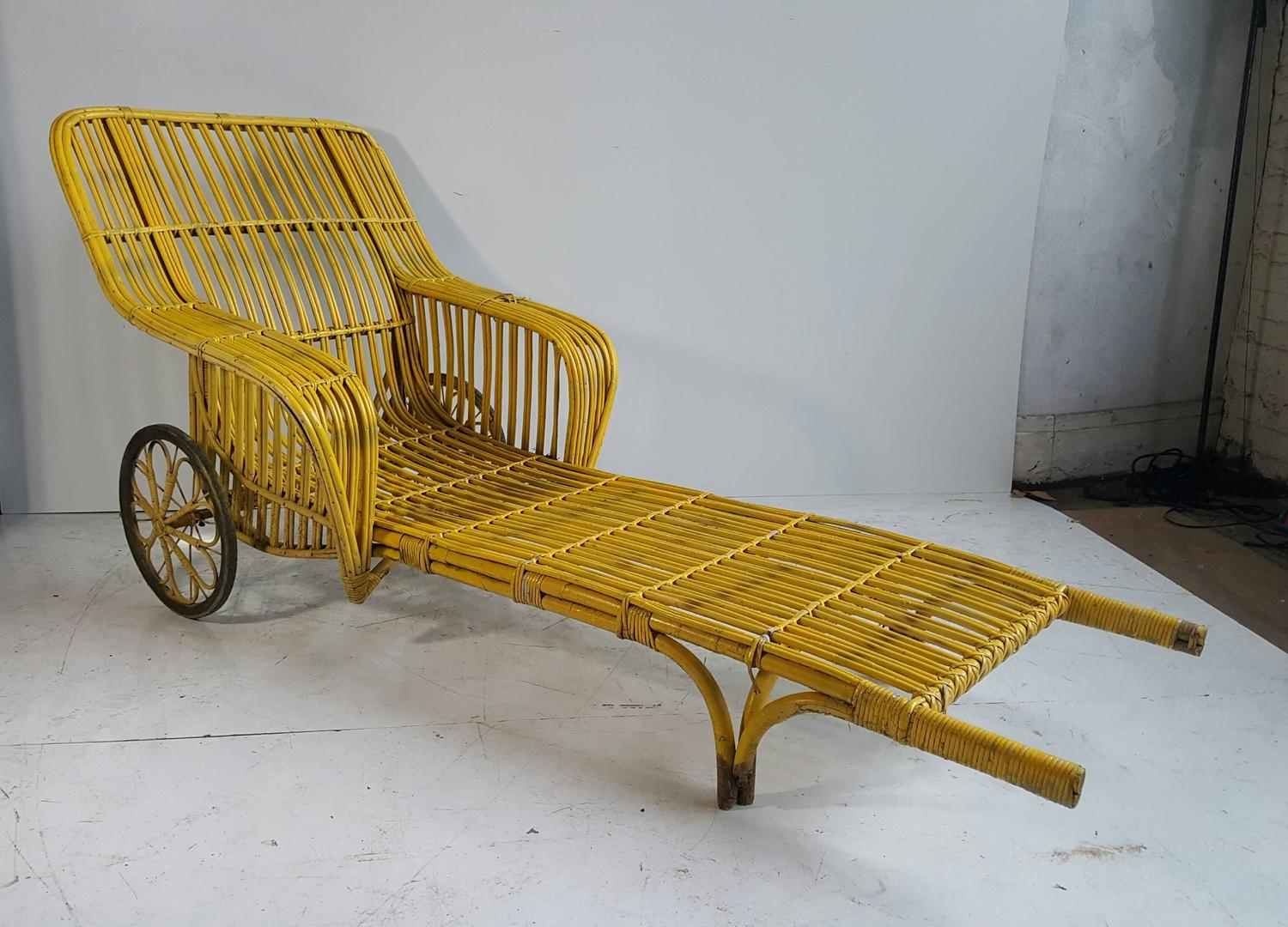 pair of unusual art deco 39 rickshaw split reed stick wicker chaise lounge chairs for sale at 1stdibs. Black Bedroom Furniture Sets. Home Design Ideas