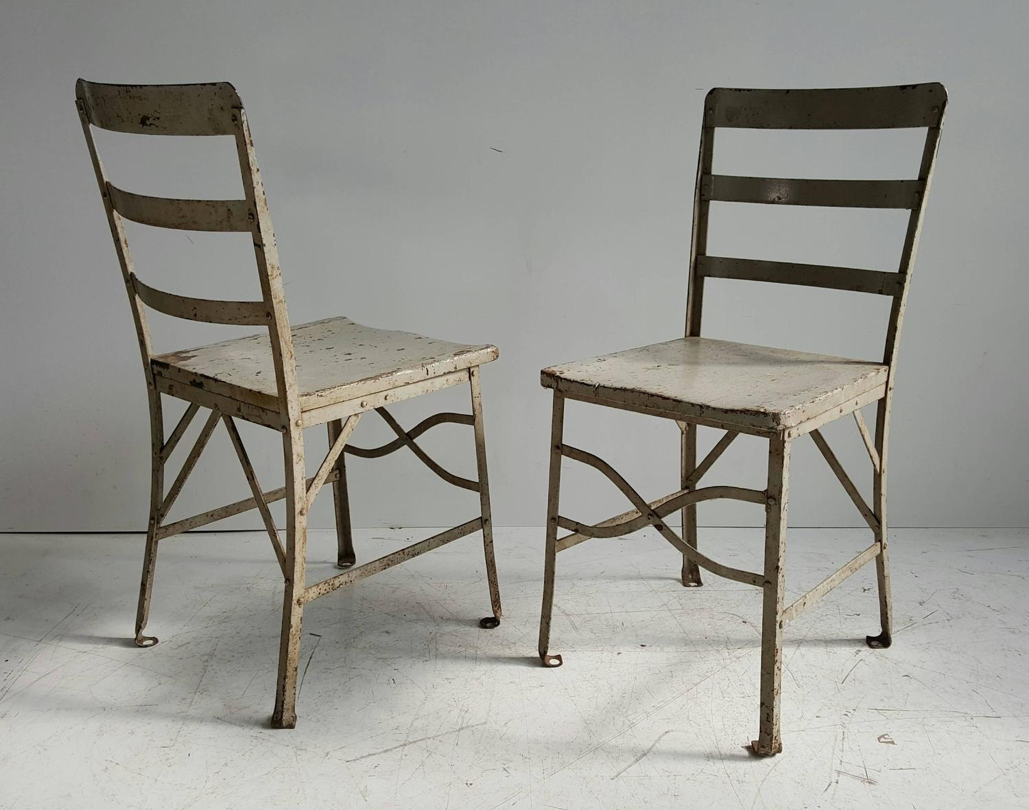 Pair Of American Modernist Industrial Chairs Old Factory