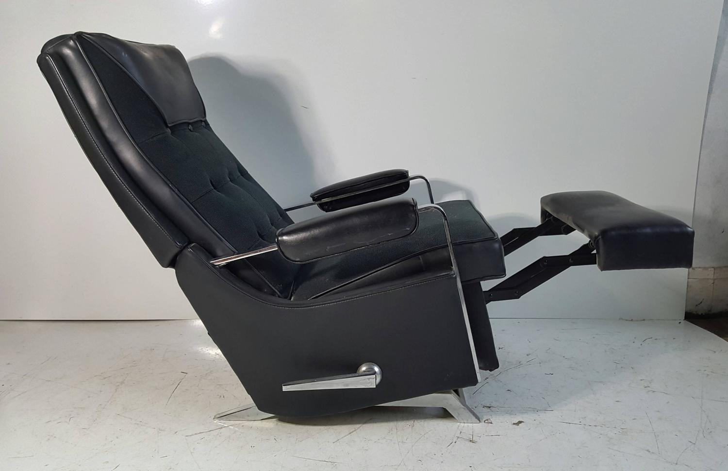 Classic Modernist Lazy Boy Quot Recliner Stunning Black And Chrome For
