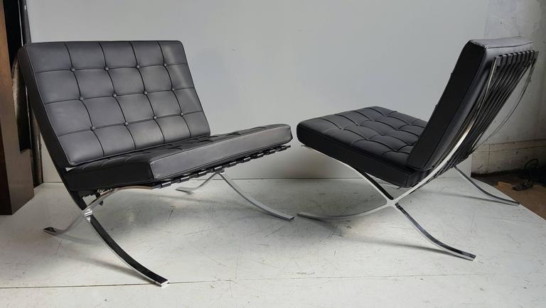 Classic Pair Modernist Barcelona Chairs Mies Van Der Rohe Made In