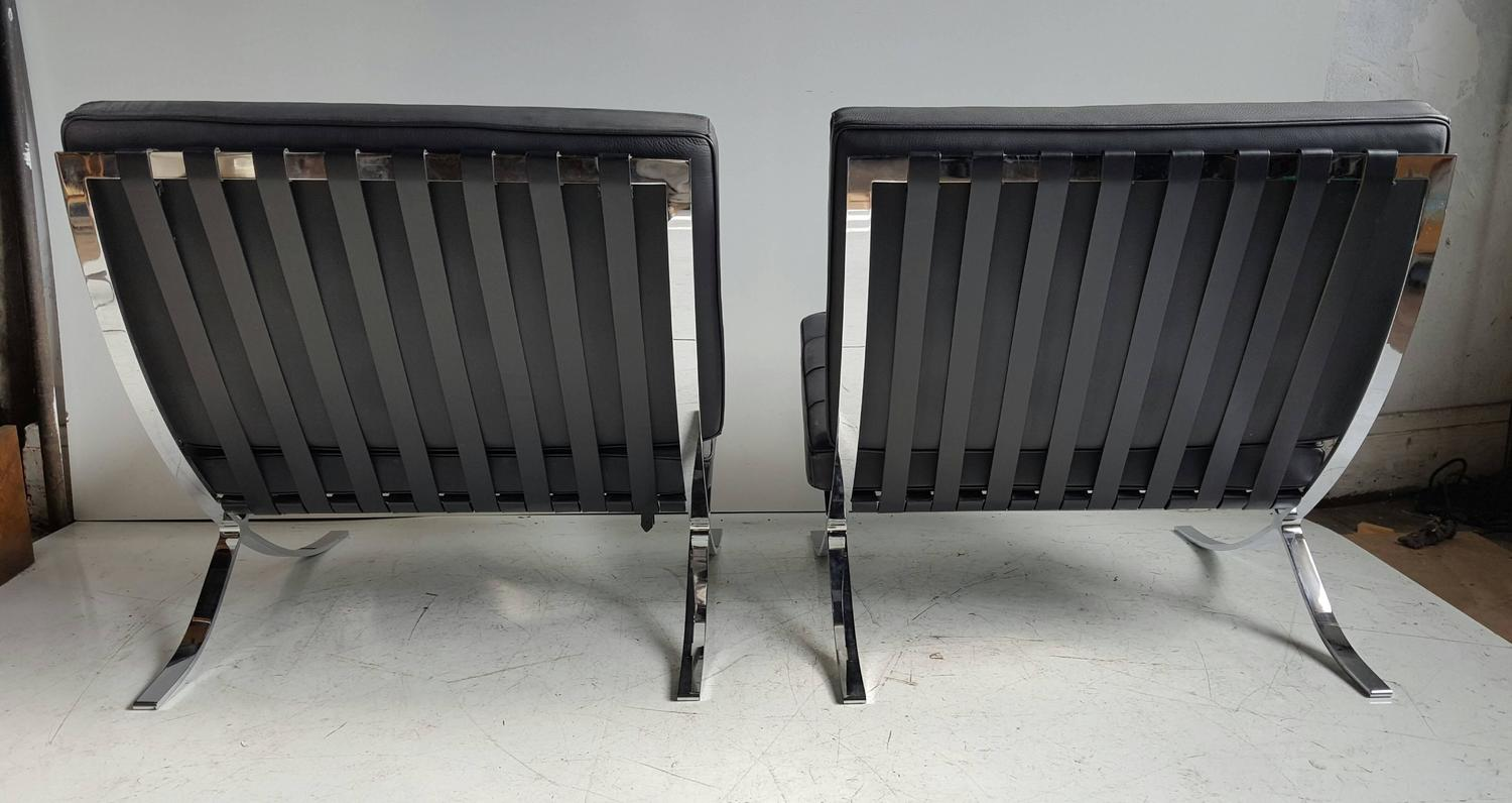 classic pair modernist barcelona chairs mies van der rohe made in italy for sale at 1stdibs. Black Bedroom Furniture Sets. Home Design Ideas