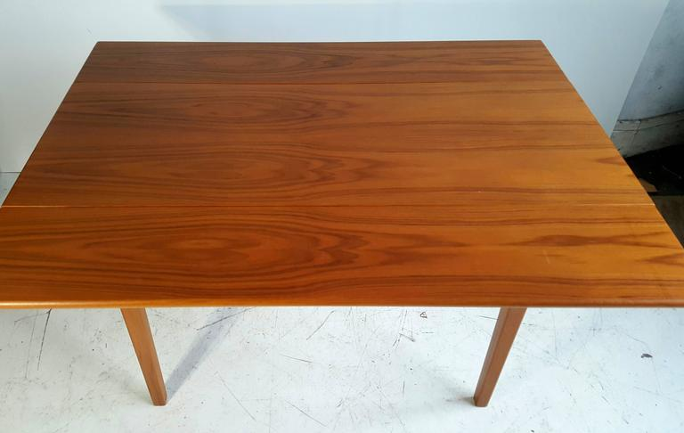 Danish Handsome Teak Drop-Leaf Dining or Breakfast Table, ABJ Made in Denmark