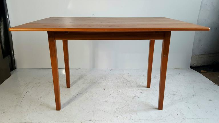 Handsome Teak Drop-Leaf Dining or Breakfast Table, ABJ Made in Denmark In Excellent Condition In Buffalo, NY