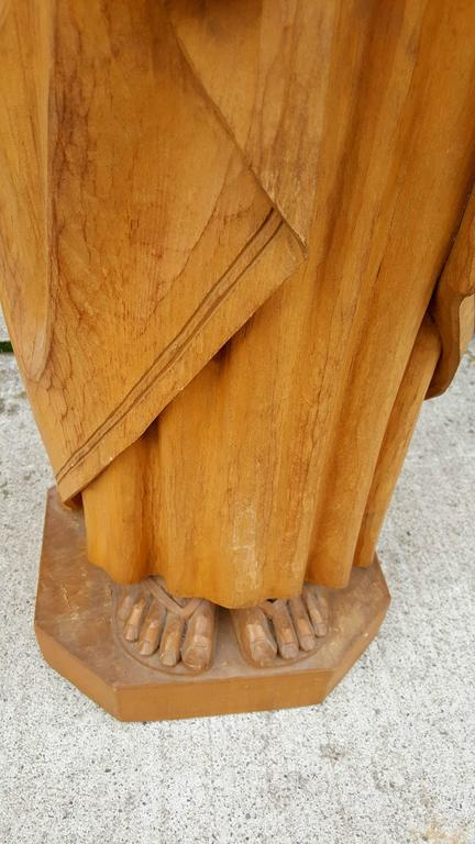 Baroque Revival 20th Century Carved Wood Religious Figure,'Joseph' Italy For Sale