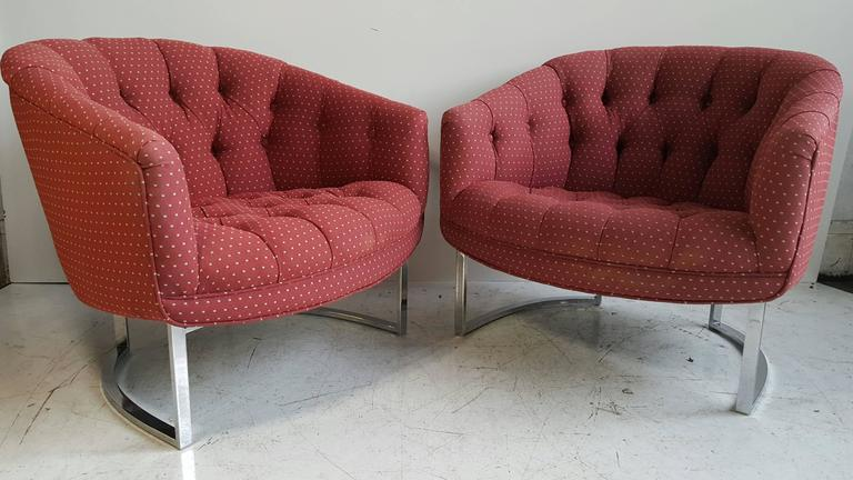 Pair Of Chrome And Fabric Button Tufted Milo Baughman