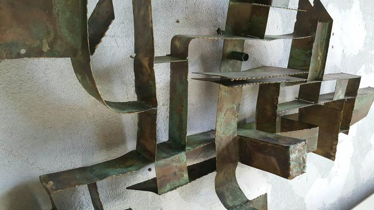 Unusual Brutalist bronze wall hanging sculpture, cubist, constructivism. Wonderful form, very well executed, amazing patina, purchased recently in Germany.