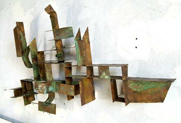 Brutalist Bronze Wall Hanging Sculpture, Germany In Excellent Condition For Sale In Buffalo, NY