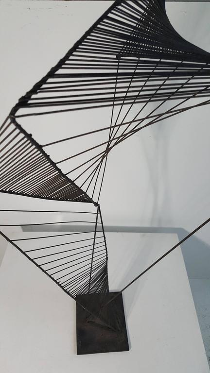 Modern Abstract Architectural Wire Iron Sculpture Manner of Roy Gussow For Sale 1