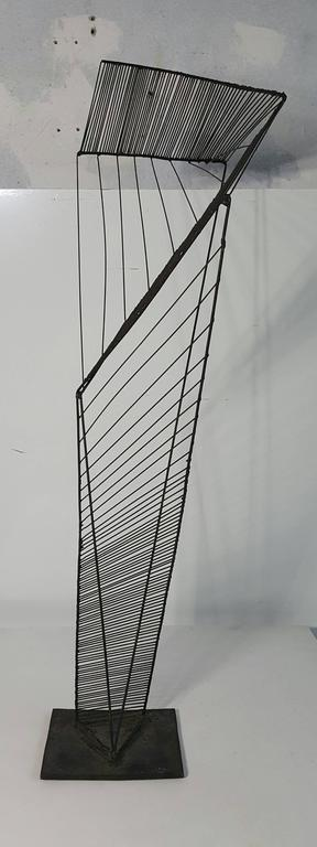 Modern abstract architectural wire iron sculpture manner of Roy Gussow. Classic modernist, strong presence, very well executed.