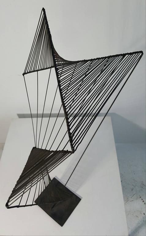 Modern Abstract Architectural Wire Iron Sculpture Manner