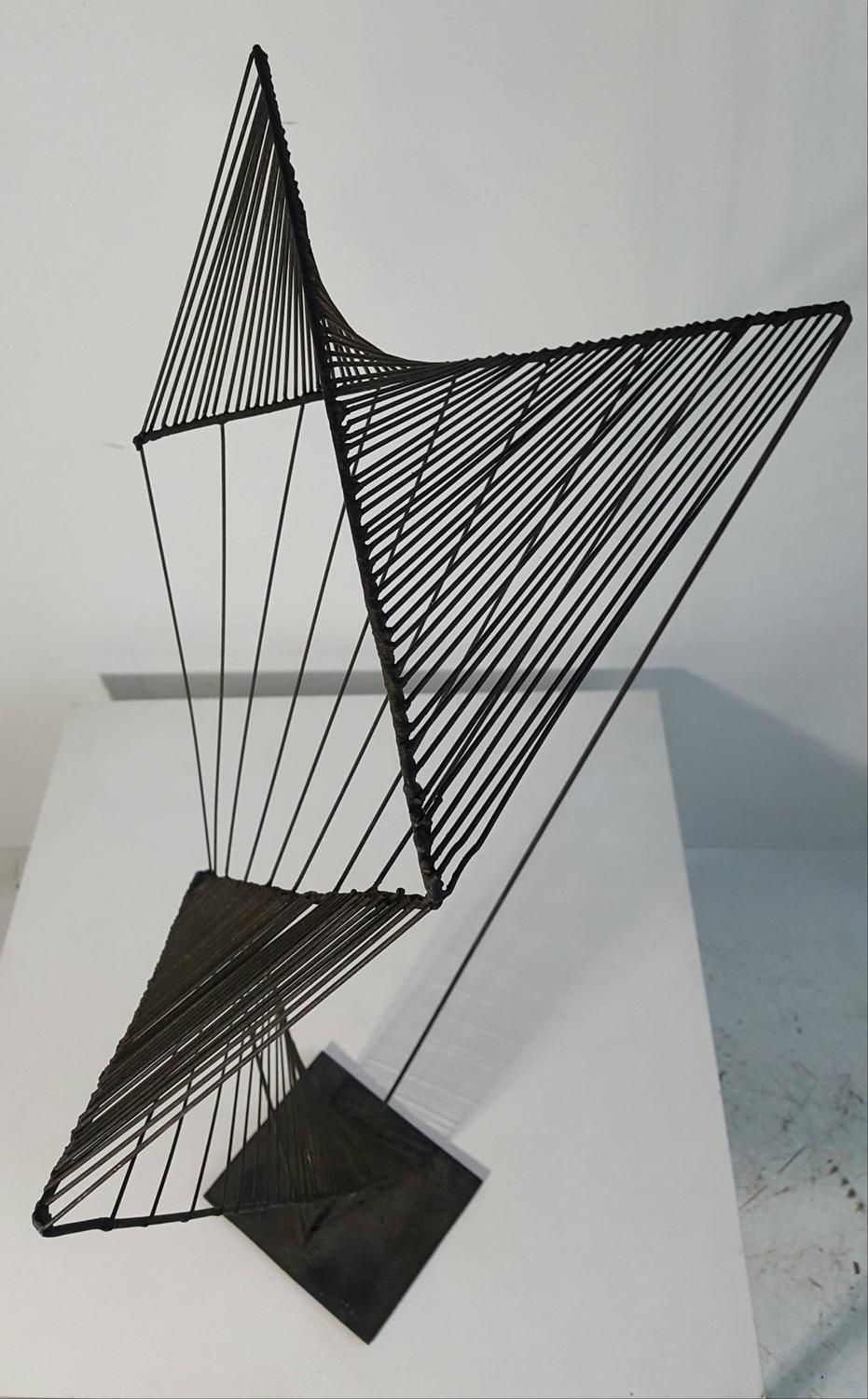 Modern Abstract Architectural Wire Iron Sculpture Manner
