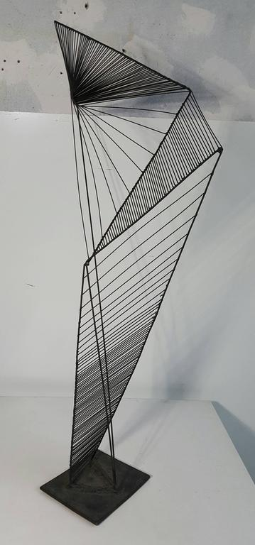 Welded Modern Abstract Architectural Wire Iron Sculpture Manner of Roy Gussow For Sale