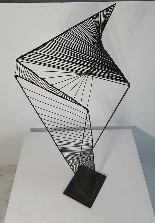 20th Century Modern Abstract Architectural Wire Iron Sculpture Manner of Roy Gussow For Sale