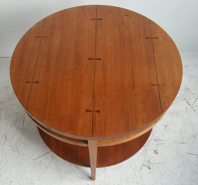 "Modernist Walnut and Rosewood Lamp Table 'Tuxedo"" by Lane 2"