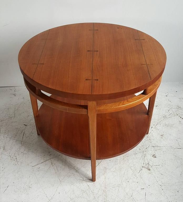 "Modernist Walnut and Rosewood Lamp Table 'Tuxedo"" by Lane 3"