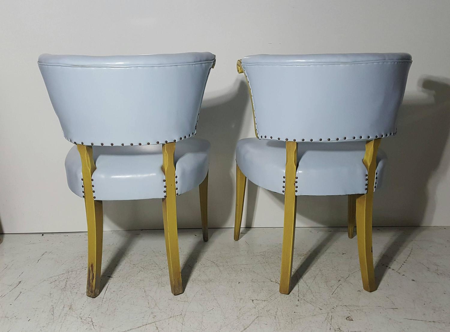 Pair Of Regency Baby Blue Leather And Horned Arm Bergere