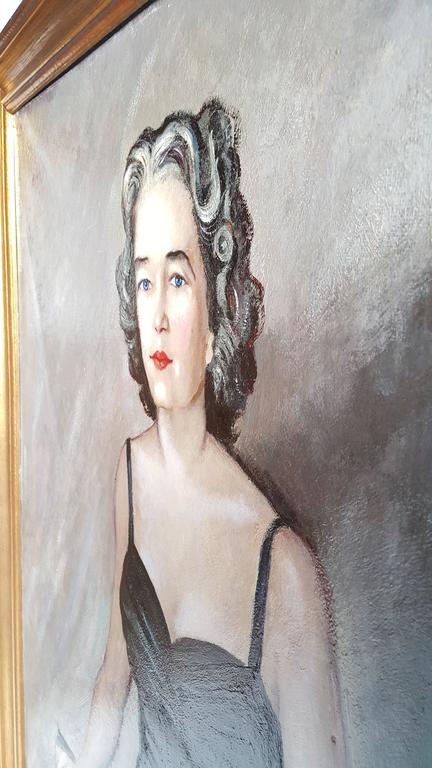 Hand-Painted Oversized Oil on Board Portrait Painting by Buffalo NY Artist Tony Sisti For Sale
