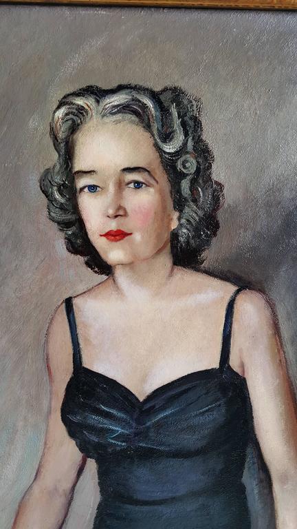 Art Deco Oversized Oil on Board Portrait Painting by Buffalo NY Artist Tony Sisti For Sale