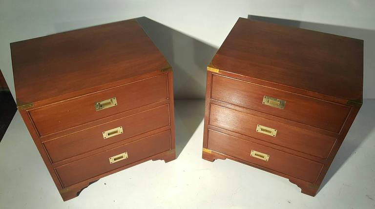 American Classic Pair of Mahogany and Brass Campaign Stands/Chest For Sale