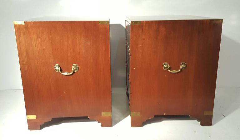 Hollywood Regency Classic Pair of Mahogany and Brass Campaign Stands/Chest For Sale