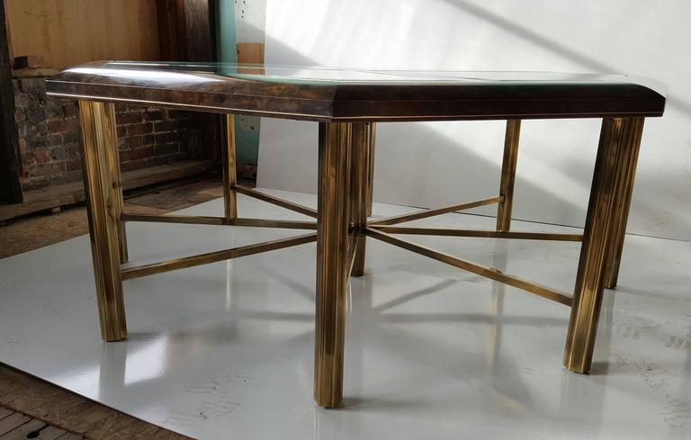 Monumental Burl Elm and Brass Eight-Sided Dining Table by Mastercraft In Good Condition For Sale In Buffalo, NY