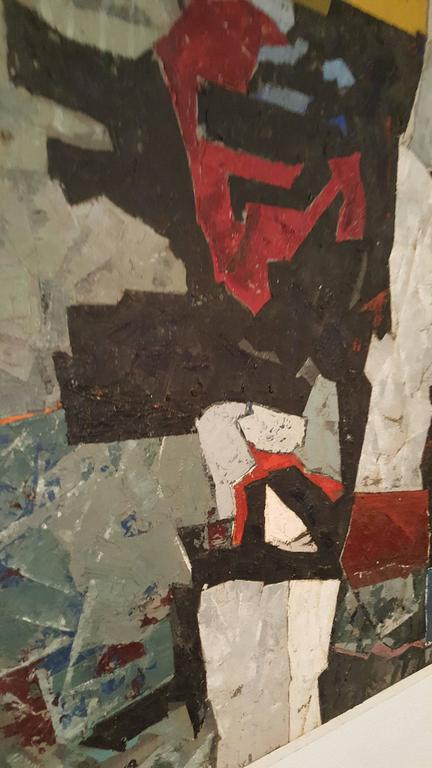 Modern Abstract Oil on Board, Painting by K.Siebert, circa 1959 In Good Condition For Sale In Buffalo, NY