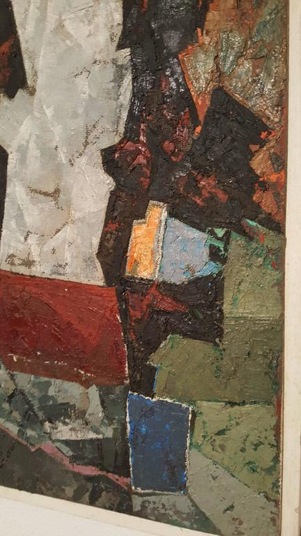 American Modern Abstract Oil on Board, Painting by K.Siebert, circa 1959 For Sale