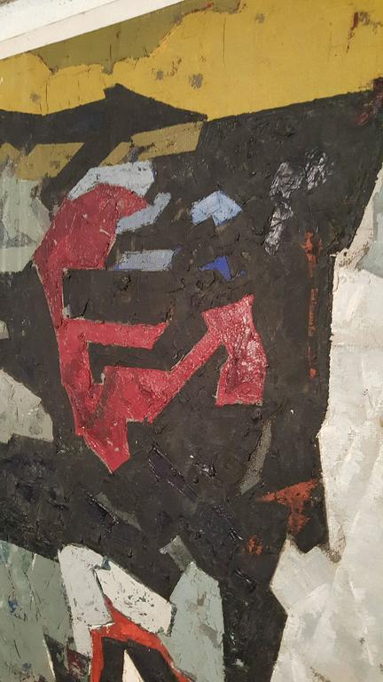 Mid-Century Modern Modern Abstract Oil on Board, Painting by K.Siebert, circa 1959 For Sale