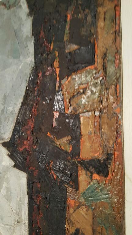 Modern abstract oil on board, painting by K.Siebert, circa 1959, Amazing use of color and texture.